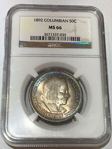 Click now to see the BUY IT NOW Price! 1892 COLUMBIAS EXPOSITION COMMEMORATIVE HALF DOLLAR NGC MS 66 GREAT COLORS