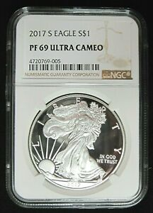 2017 S PROOF SILVER EAGLE NGC PROOF 69 ULTRA CAMEO BROWN LABEL