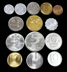 UNC SET 14 DIFFERENT ISRAELI OLD COINS COLLECTION ISRAEL COLLECTIBLE NUMISMATIC