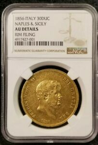 Click now to see the BUY IT NOW Price! ITALY: NAPLES & SICILY. FERDINANDO II GOLD 30 DUCATI 1856 KM372   NGC AU
