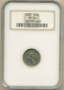 1887 THREE CENT  NICKEL  PIECE GORGEOUS PROOF 3 CENT  NGC GRADED PF64 FREE S/H