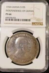 Click now to see the BUY IT NOW Price! GHANA 1958 SILVER 10 SHILLINGS COIN   INDEPENDENCE OF GHANA   NGC PF 64