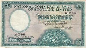 NATIONAL COMMERCIAL BANK OF SCOTLAND 5 POUNDS ALEXANDER 1959  B802 P 266  VF