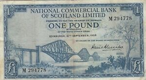 NATIONAL COMMERCIAL BANK OF SCOTLAND 1 POUND ALEXANDER 1959  B801 P 265  VF