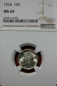 1934 P MS 64 MERCURY DIME NGC CERTIFIED GRADED SLAB COMBINED SHIPPING OCE 10