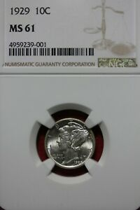 1929 P MS 61 MERCURY DIME NGC CERTIFIED GRADED SLAB COMBINED SHIPPING OCE1090