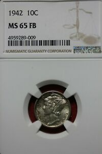 1942 P FB MS 65 MERCURY DIME NGC CERTIFIED GRADED SLAB COMBINED SHIPPING OCE1136
