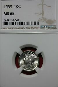 1939 P MS 65 MERCURY DIME NGC CERTIFIED GRADED SLAB COMBINED SHIPPING OCE 665