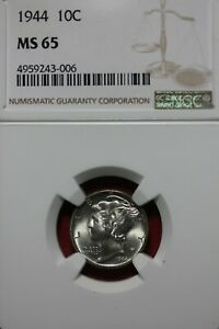 1944 P MS 65 MERCURY DIME NGC CERTIFIED GRADED SLAB COMBINED SHIPPING OCE 1099