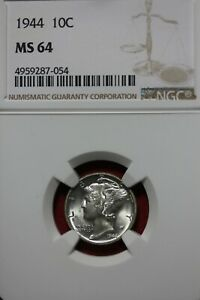 1944 P MS 64 MERCURY DIME NGC CERTIFIED GRADED SLAB COMBINED SHIPPING OCE 633