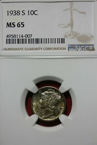 1938 S MS 65 MERCURY DIME NGC CERTIFIED GRADED SLAB COMBINED SHIPPING OCE 669