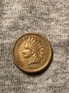 1860 1C POINTED BUST INDIAN HEAD CENT AU