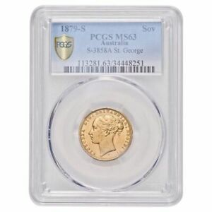 Click now to see the BUY IT NOW Price! 1879S QUEEN VICTORIA ST GEORGE SOVEREIGN PCGS MS63 CHOICE UNC