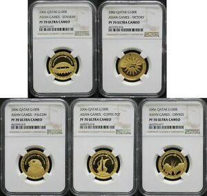 Click now to see the BUY IT NOW Price! QATAR 2006 DOHA 15TH ASIAN GAMES 100 RIYAL GOLD 5 COINS SET NGC 70