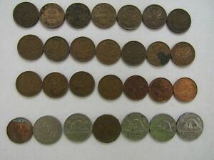 LOT OF 28 DIFFERENT OLD OR OBSOLETE CANADA COINS   1920 TO 2001   CIRCULATED