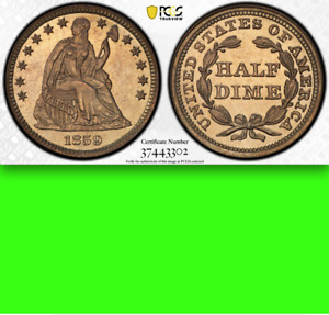 Click now to see the BUY IT NOW Price! 1859 PCGS PR64  FLASHY MIRRORS   $1 466 STARS PROOF SEATED HALF DIME  H10C