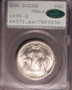 1935 S SAN DIEGO SILVER COMMEMORATIVE HALF DOLLAR  50C  PCGS MS 64 CAC RATTLER