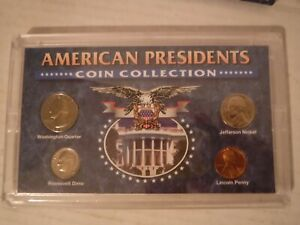 AMERICAN PRESIDENTS COIN COLLECTION 4 COIN SETPENNY NICKEL DIME QUARTER IN CASE