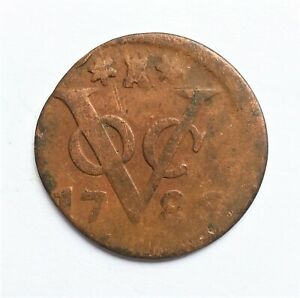 NETHERLANDS EAST INDIES   VOC DUIT ZEELAND 1786 NEW YORK PENNY COLONIAL COIN