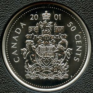 2001 'P' CANADA UNCIRCULATED 50 CENT COIN FROM SPECIMEN SET