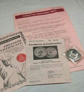 STATUE OF LIBERTY DOUBLE EAGLE SERIES S COMMEMORATIVE COIN  CERT. AUTHENTICITY