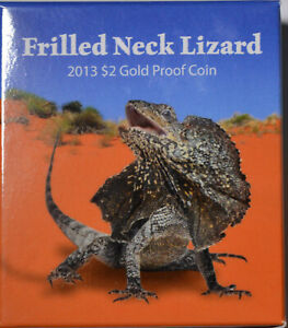 AUSTRALIA FRILLED NECK LIZARD 2013 $2 GOLD PROOF  1/2 GRAM  WITH BOX & COA