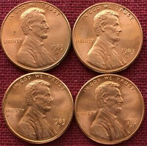 1983 D  UNCIRCULATED BU RD RED LINCOLN MEMORIAL CENT LOT OF 4