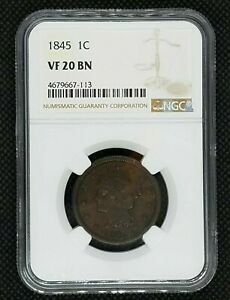 1845 BRAIDED HAIR LARGE CENT | NGC VF 20 BN | GREAT EYE APPEAL