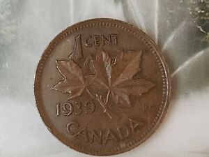 1939 CANADIAN ONE 1 CENT COPPER PENNY CIRCULATED COIN