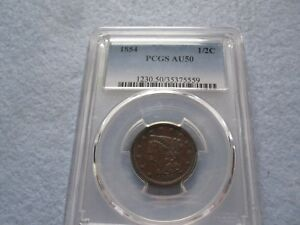 1854 BRAIDED HAIR HALF CENT PCGS GRADED AU50  1/2 C BETTER DATE LOW MINTAGE