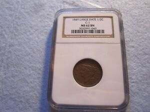 1849 BRAIDED HAIR HALF CENT NGC GRADED MS62  KEY DATE 1/2C