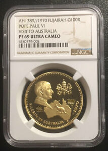 Click now to see the BUY IT NOW Price! FUJAIRAH 100R 1970 GOLD NGC PF69UC POPE PAUL VISIT AUSTRALIA MTG:250 POP 2/0 RRR