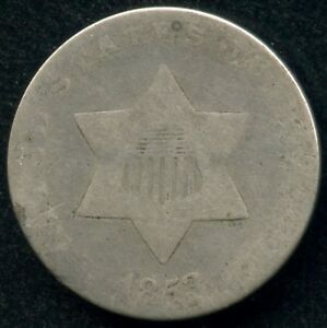1853 UNITED STATES SILVER 3 CENT COIN  0.8 GRAMS .750