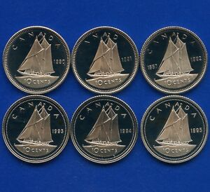 6 CANADA PROOF UNCIRCULATED 10 CENT COINS 1990 1991 1992 1993 1994 & 1995