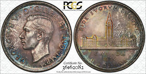 1939 SILVER DOLLAR $1 PCGS MS 64   SUPERB MULTI COLOR TONING  CRACKED HOLDER