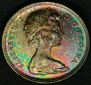 1966 LB SILVER DOLLAR $1 PCGS MS 64   AMAZING MULTI COLOR TONING