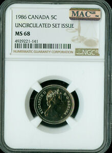 Click now to see the BUY IT NOW Price! 1986  CANADA 5 CENTS NGC MAC MS68 PQ SPOTLESS   ..
