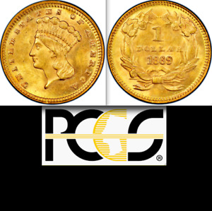 1869 PCGS MS63 5 900 MINTED  POP 112 ALL GRADES  GORGEOUS COLOR GOLD DOLLAR $1