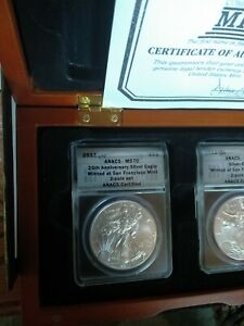 Click now to see the BUY IT NOW Price! 2011/2012 SET S   SILVER EAGLE ANACS MS70 25TH ANNIVERSARY