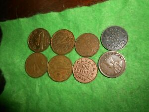 CANADA/CANADIAN LOT OF 4 TOMBAC NICKELS   4 KING GEORGE V SMALL CENTS