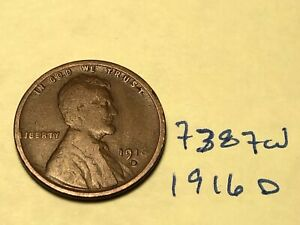 1916 D 1C BN LINCOLN CENT 7387W WHEAT PENNY