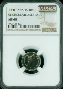 1980 CANADA 10 CENTS NGC MAC MS68 PQ 2ND FINEST GRADE SPOTLESS  ..