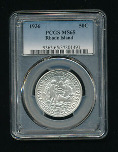 1936 P RHODE ISLAND SILVER HALF DOLLAR COMMEMORATIVE 50C PCGS MS 65 HIGH GRADE
