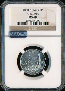 Click now to see the BUY IT NOW Price! 2008 P ARIZONA QUARTER NGC MAC MS69 SMS FINEST REGISTRY SPOTLESS POP 3