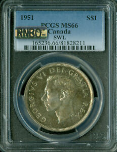 Click now to see the BUY IT NOW Price! 1951 SWL CANADA DOLLAR PCGS MAC MS 66 RNBO RAINBOW FINEST GRADED  ..