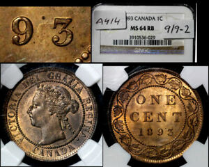 Click now to see the BUY IT NOW Price! ELITE VARIETIES CANADA LARGE CENT 1893 REPUNCHED 9   NGC MS64  A414