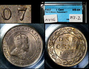Click now to see the BUY IT NOW Price! ELITE VARIETIES CANADA LARGE CENT 1907 REPUNCHED 7/7 RT/LT   MS64   A446