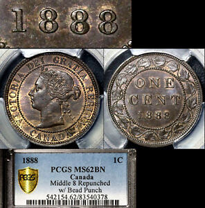Click now to see the BUY IT NOW Price! ELITE VARIETIES CANADA LARGE CENT 1888 MIDDLE 8 BEAD PUNCH   PCGS MS62  A383
