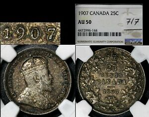 Click now to see the BUY IT NOW Price! ELITE VARIETIES CANADA 25 CENTS   1907 REPUNCHED 7/7   AU50   A544