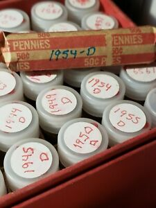 LINCOLN PENNY ROLL   CIRCULATED       1954 D   LOT OF 50 CENTS     2